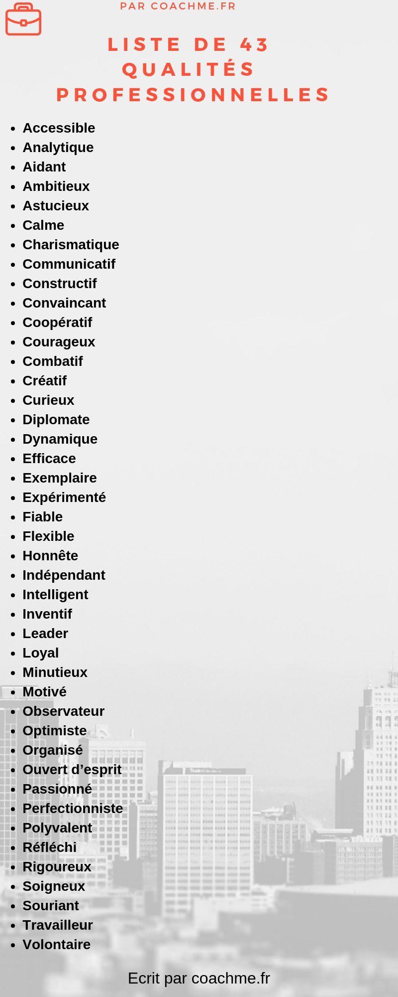 liste des 43 qualit u00e9s humaines les plus constat u00e9es dans le monde pro