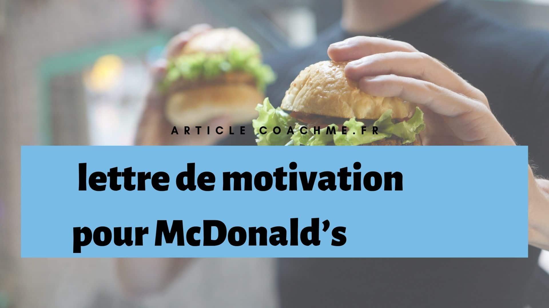 Lettre De Motivation Pour Bosser Chez Mcdonald S