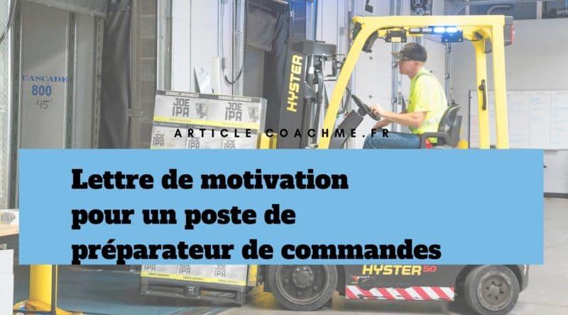 Lettre De Motivation Pour Devenir Préparateur De Commandes