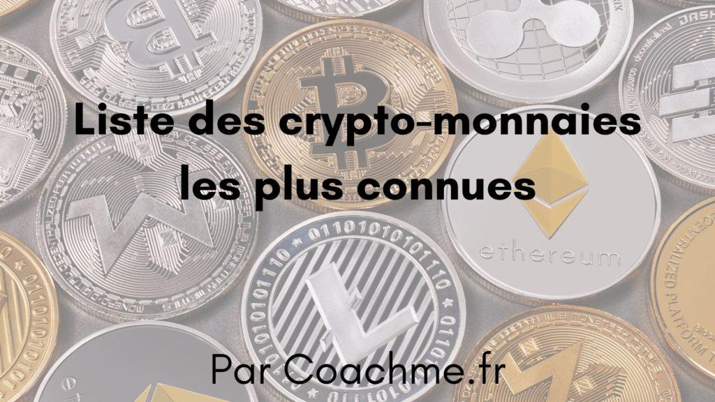 crypto monnaie liste